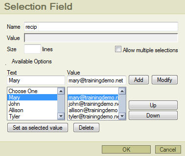 Step 3: Selection Field Setup illustration