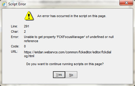 How do I stop the script error messages when working on my site in IE?